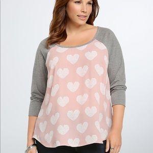 Torrid Heart Pattern Pink & Gray Baseball Shirt